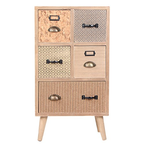 Wooden Cabinet Large Space Handmade Pastoral Style Storage With 5 Drawers by VIVA HOME