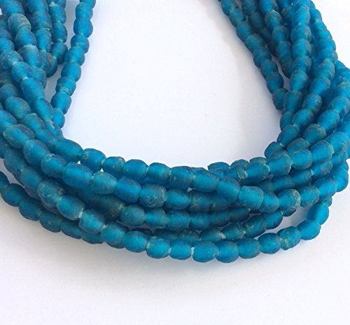 65 Seeds (65 Round African Teal Blue Ghana Krobo recycled Glass trade Beads)