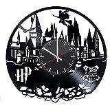 unique nursery ideas Hogwarts Modern Handmade Vinyl Record Wall Clock - Get unique bedroom or nursery wall decor - Gift ideas for kids and teens - Magic Castle Unique Art Design