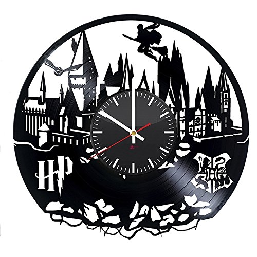 Hogwarts Modern Handmade Vinyl Record Wall Clock - Get unique bedroom or nursery wall decor - Gift ideas for kids and teens – Magic Castle Unique Art (Ideas For Kids)