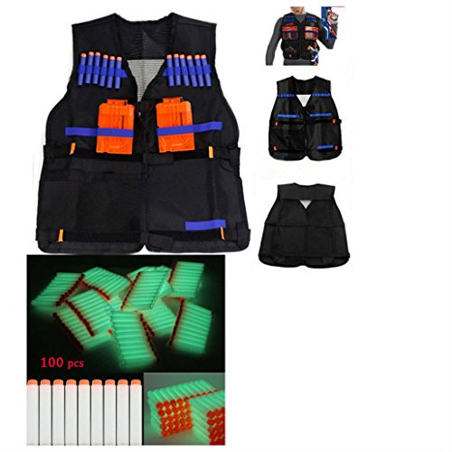 100 PCS Gun Soft Darts + 1 Tactical Vest For N-Strike Elite Series whi from Unknown