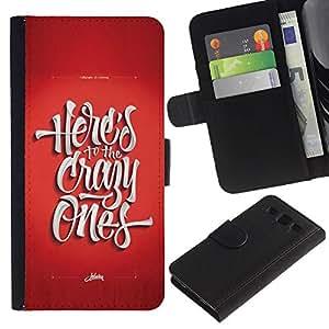 KingStore / Leather Etui en cuir / Samsung Galaxy S3 III I9300 / Los locos Funky rojo impresiones texto fresco