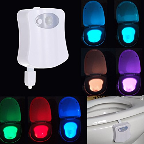 New 8 Color Durable Body Sensing Automatic LED Motion Sensor Toilet Bowl Night Light Free (Mansfield 3 Light)