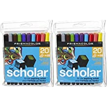 Prismacolor Scholar Water-Based Art Markers, Brush Tip, Set of 20 Assorted Colors (1774270) by Sanford