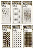 6 Tim Holtz Mixed Media Layered Stencils Set | Shifter Dots, Speckles, Polka Dot, Fade, Rings, Grid Designs | Templates for Arts, Card Making, Journaling, Scrapbooking | by Stampers Anonymous