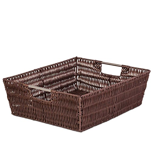 Woven Decorative Storage Basket Flat- Closet Organizer Bin w/ Ample Space - Incredibly Versatile - Highly Durable Build - Easy to Clean - Attractive Design - 13
