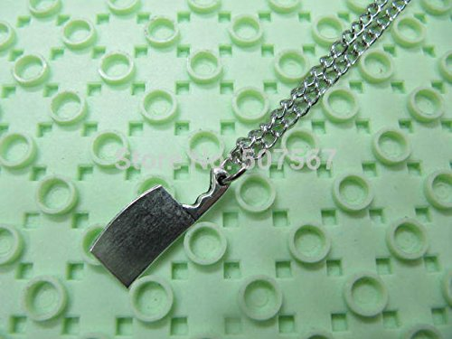 Sweet Brownie ancient silver Butcher Knife Necklace - sword jewelry zombie weapon funky necklace creepy cute necklace
