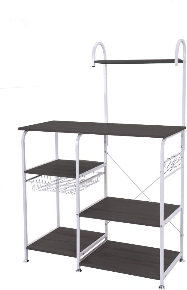 Mefedcy Furniture Kitchen Baker s Rack Storage Unit Shelving Microwave Stand 4-Tier 3-Tier Shelf for Spice Rack Organizer Workstation White
