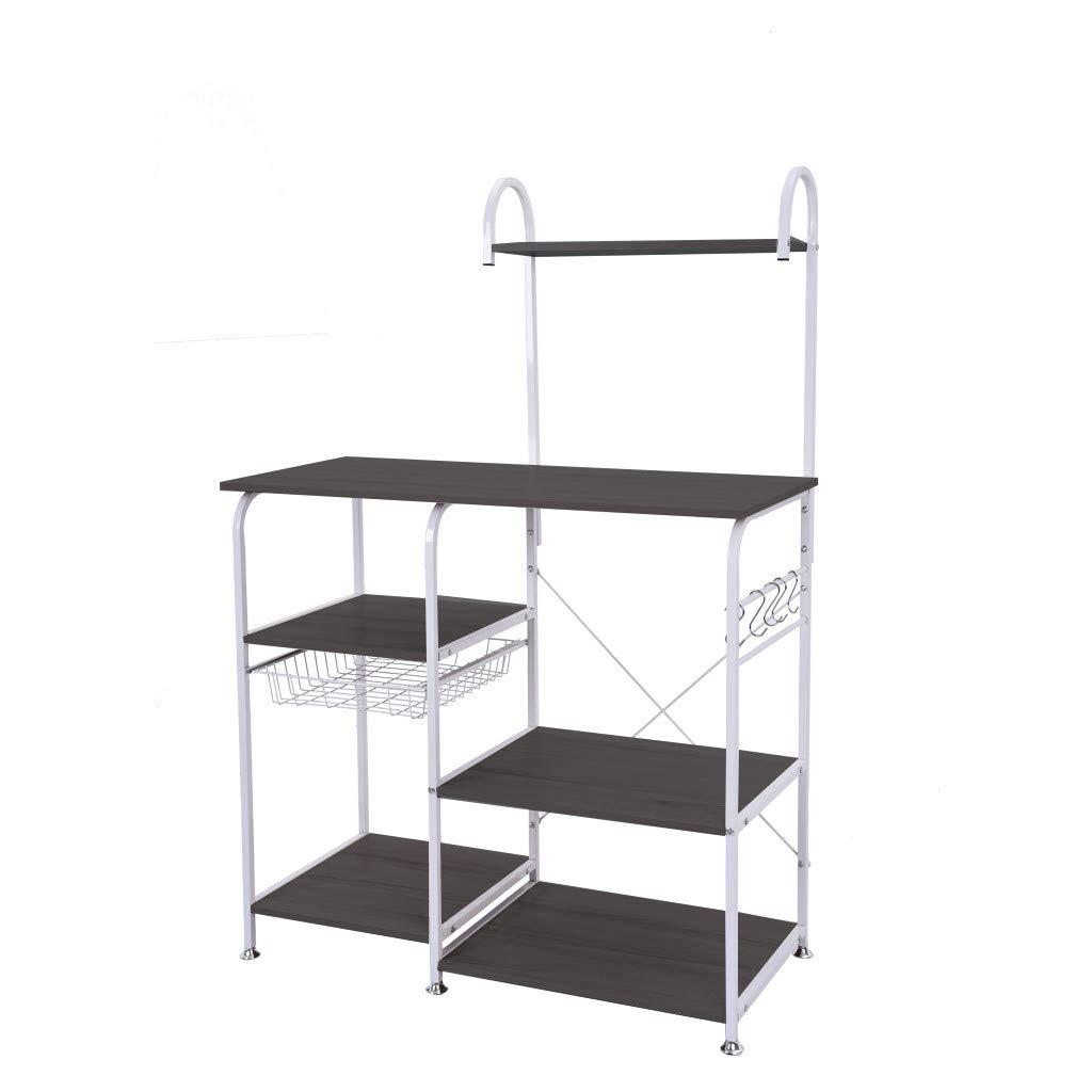 BYIA Multifunctional Kitchen Rack Microwave Oven Floor Shelf Storage Storage Cupboard (Black)