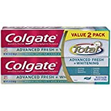 Colgate Total Advanced Fresh + Whitening Gel Toothpaste, 5.8 ounce (2 Pack)