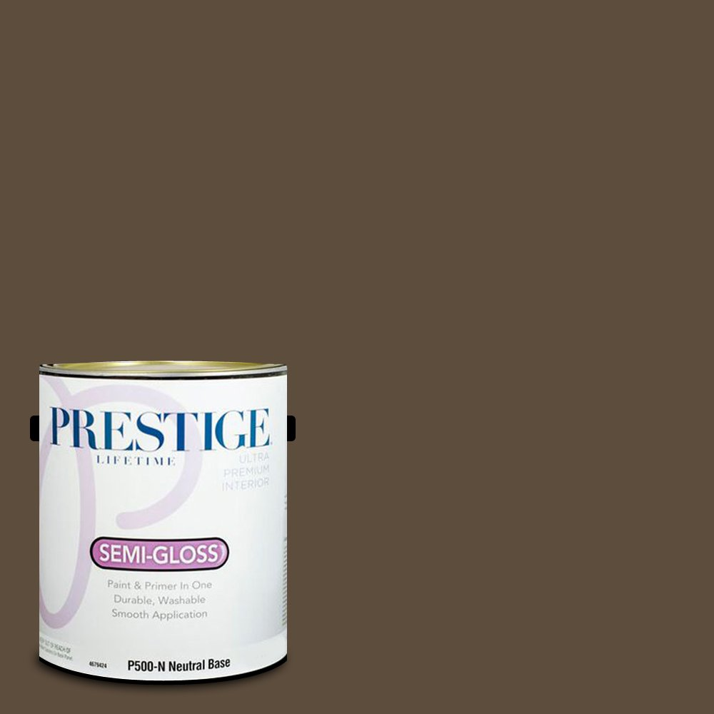 Prestige Paints Interior Paint and Primer In One, 1-Gallon, Semi-Gloss,  Comparable Match of Sherwin Williams Status Bronze