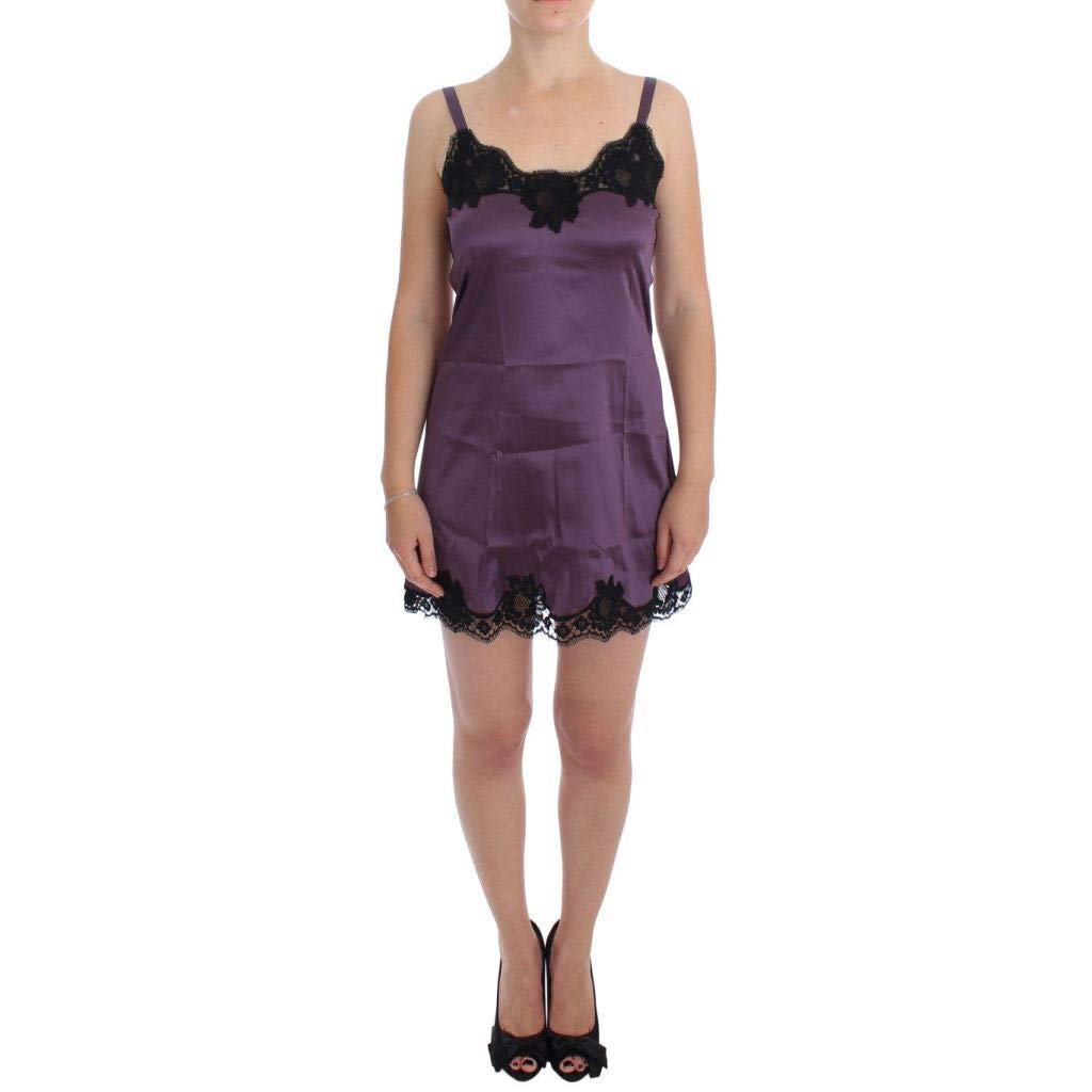 5d201a36002f9 Dolce & Gabbana Purple Black Silk Lace Dress Lingerie Chemise at Amazon  Women's Clothing store:
