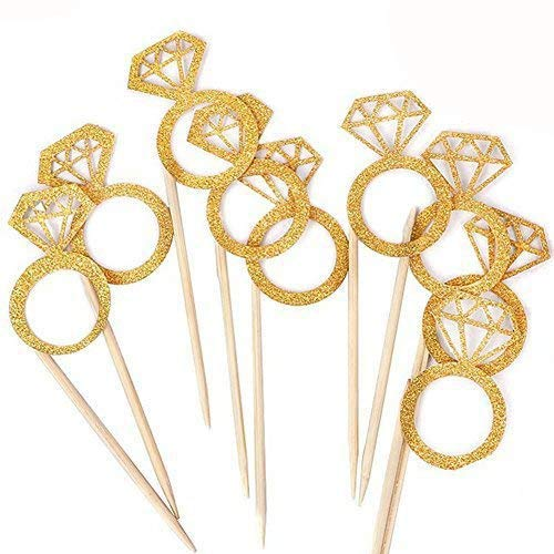 Kakasogo 50PCS Newest Wedding Bridal Shower Gold Glitter Diamond Ring Cupcake Cake Topper Picks for Marriage Engagement Anniversary Birthday Valentines Party Cake Decor]()