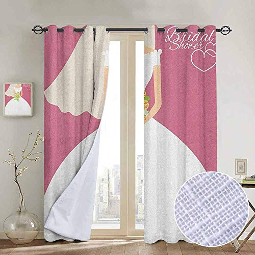 (NUOMANAN Kitchen Curtains Bridal Shower,Wedding Day Celebration Bride with White Dress and Flowers Image, Dark Coral and White,Rod Pocket Drapes Thermal Insulated Panels Home décor)