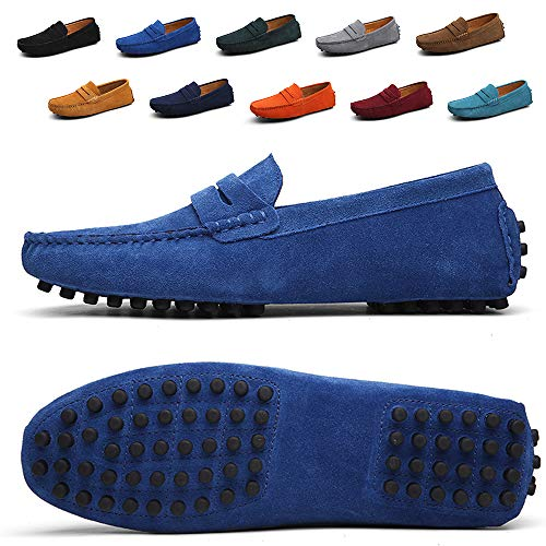 - Ezkrwxn Men Penny Loafers Slip on Shoes Suede Leather Moccasins Driver Driving Shoes Fashion Office Business Casual Dress Shoes Plus Big Size Sneakers Blue Size 11 (2088-Blue-45)