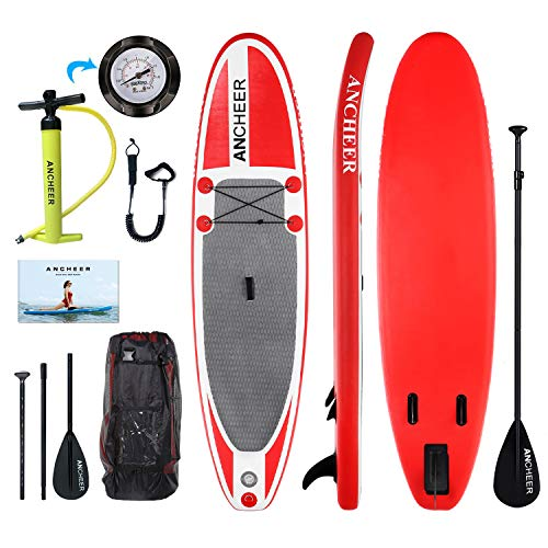 ANCHEER Inflatable Stand Up Paddle Board 10', Non-Slip Deck(6 Inches Thick), iSUP Boards Package w/Adjustable Paddle, Leash, Hand Pump and Backpack, Youth & Adult (Best Stand Up Paddle Board For Fishing)