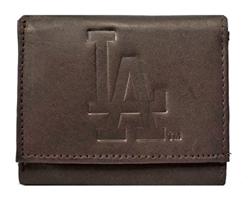 Rico Los Angeles Dodgers MLB Embossed Logo Dark Brown Leather Trifold Wallet