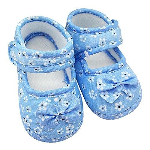 BOBORA Bebe Zapatos Flores Impreso Algodon Infantil De Zapatos Prewalker Azul