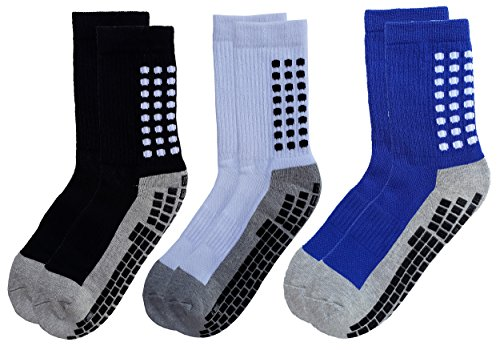 RATIVE Anti Slip Non Skid Slipper Hospital Socks with grips for Adults Men Women (Large, 3 pairs-assorted)