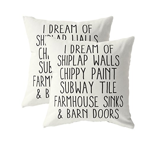 I Dream Of Shiplap Walls Throw Pillow Cover - Buy 1 Give 1 Pillowcover. Couple Pillowcovers -