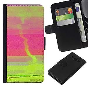 KLONGSHOP // Tirón de la caja Cartera de cuero con ranuras para tarjetas - Puesta de sol verde Tornado Rosa Mar Resumen - Samsung Galaxy A3 //