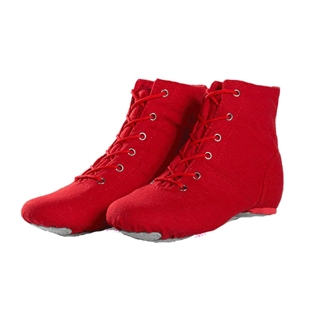 Red Jazz Dance Boots lace-up Canvas Practice Trainers with Soft high Shaft Split Leather Shoes Sole for Girls Kids Women Men