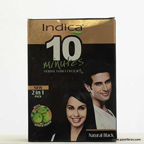 Indica Natural Black Herbal Based Hair Color (8 Sachets X 5 Gram)
