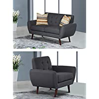 U.S. Livings Coraline Mid Century Modern Living Room Loveseat and Two Chair Set (3-Pieces, Grey)