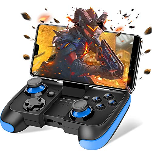 BEBONCOOL Android Wireless Game Controller with Clip for Android Phone/Tablet/Samsung/Game Boy Emulator, Works with Bluetooth (Blue) (Top 100 Best Android Games)
