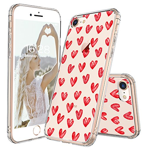 iPhone 8 Case, iPhone 7 Case, MOSNOVO Love Hearts Pattern Printed Clear Design Transparent Plastic Back Case with TPU Bumper Protective Case Cover for iPhone 7 / iPhone 8 - Hearts Design Phone Cover