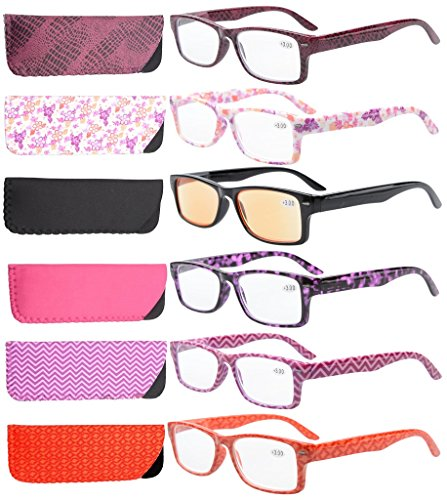 Eyekepper 6-Pack Spring Hinges Patterned Rectangular Reading Glasses Include Computer Readers Women +1.5 -