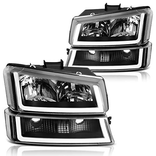AUTOSAVER88 Headlight Assembly kit for 2003 2004 2005 2006 Chevy Avalanche Silverado 1500 2500 3500/2007 Chevrolet Silverado Classic Pickup Headlamp,Black Housing Clear Lens and Reflector