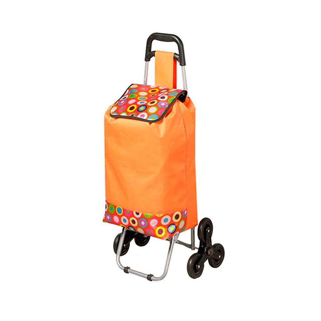 ポータブルスーパーマーケットカート折り畳み式ショッピングカートトロリー (色 : Orange) B07HQL99LW Orange