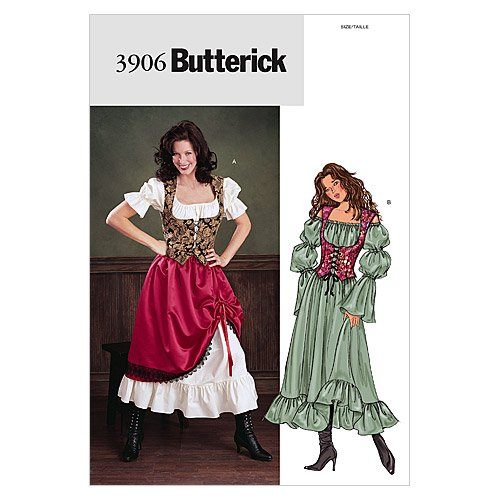 Butterick B3906 Women's 18th Century Historical Costume Dress Sewing Pattern, Sizes 12-16 -