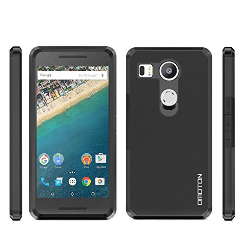 LG Google Nexus 5X Case, OMOTON High Impact Resistant Fully Protective Dual Layer Case with [Soft TPU Interior] [Durable PC Exterior] [Fashion Design], Black