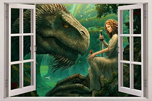 Dragon Guardian Forest 3D Window View Decal WALL STICKER Designer Mural Fantasy, Giant C036 Dragon Mural
