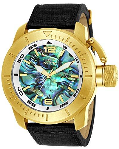 Invicta Men's 'Corduba' Quartz Gold-Tone and Nylon Casual Watch, Color:Black (Model: 23439)
