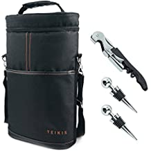 Teikis 2-Bottle (4 Pieces) Wine Bag Tote Carrier for Travel - with Bottle Opener, Wine Stoppers, All-In-One Corkscrew