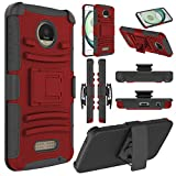 Moto Z Play Case, Moto Z Play Holster Case, Elegant Choise Heavy Duty Dual Layer Full Body Protective Kickstand Case Cover with Belt Clip Holster Case for Moto Z Play Droid (Red)