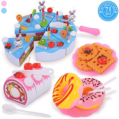 (TEMI Pretend Play Food for kids, DIY 71 PCS Cutting Birthday Party Cake Toys Set w/ Candles Fruit Dessert, Early Educational Kitchen Toy for Children, Toddlers, Boys & Girls, Aged)