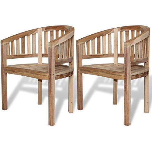 vidaXL 2 Teak Banana Halfmoon Chairs Seat Wooden Garden Furniture Outdoor Indoor - Wooden Garden Furniture