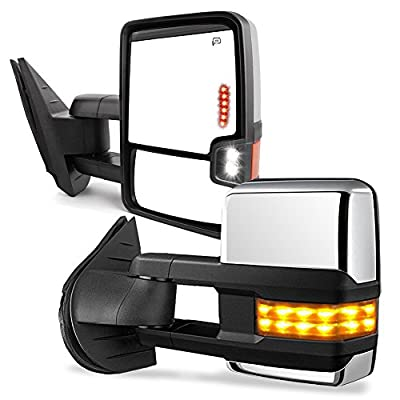 YITAMOTOR Towing Mirrors for 07-13 Chevy Silverado GMC Sierra Truck Chrome Cover Power Heated Tow Signal + Arrow + Clearance Lamps Side Mirrors