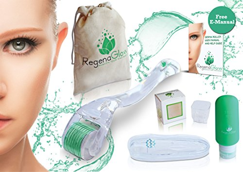Derma Roller Kit - Professional Grade - 540 Titanium Microneedle .25 mm needle length - Facial Body Massage Skin Care Home Beauty Tool with storage case, cleaning cup, Travel bag/bottle and E-manual