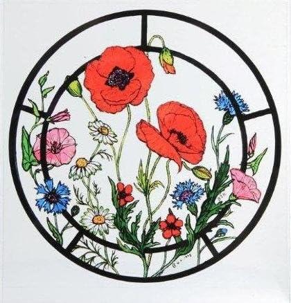 Statique d/écoratif pour fen/être effet vitrail Accroche Dans Une Cornfield Motif fleurs