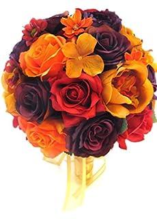 Amazon.com: Wedding bouquets Bridal Silk flower BURGUNDY Burnt ...