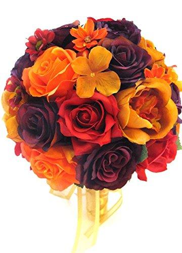 Amazon Wedding Silk Flowers Bridal Bouquet Burgundy Plum Gold