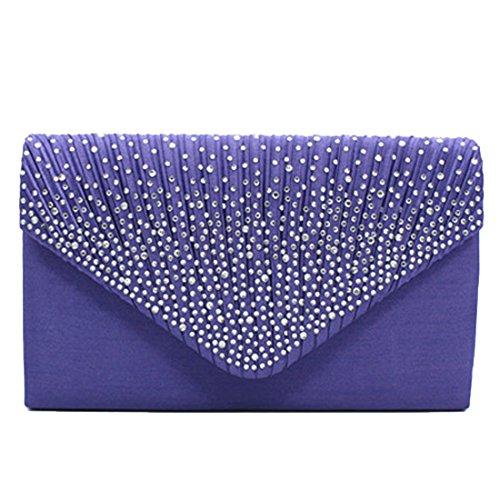 Shoulder Frosted Evening Bags Envelope Party for Pleated Rhinestone Women Clutch Bag Purse Clutch Purple Wedding Bridal Handbag 6zABrU6