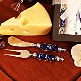 Beaucoup De Fromage - Arte Murano Glass Handled Cheese Knife Spreader and Fork Set - 24 Sets