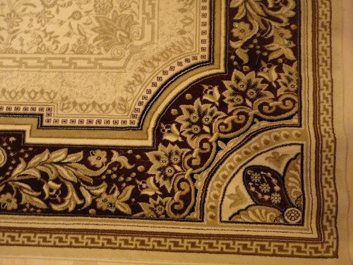 Cream 5x8 Rug Burgundy Border Area Rug Oriental Carpet 6x8