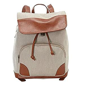 Canvas Vintage Double Shoulder Backpack Womens Mens Waterproof Leather Laptop Canvas Bag Casual Fashion for School Outdoor Multifunction Backpack s922 (Color : Khaki, Size : S)
